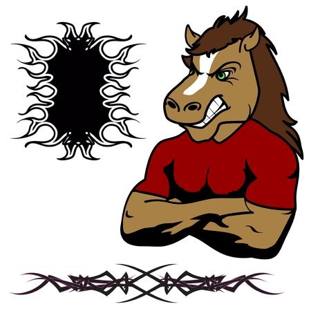 deportes caricatura: enojado muscular caballo de la historieta Set en el vector fromat