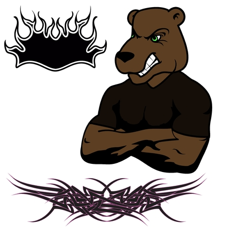 muscle angry cartoon bear vector Set in fromat