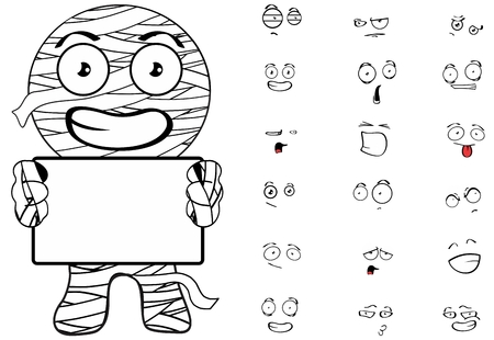 mummy cartoon emotions Set in vector format