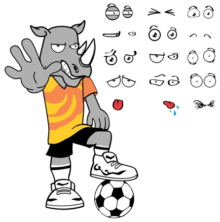 rhino vector: soccer rhino cartoon expression vector format in September Illustration