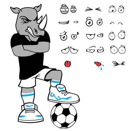 soccer rhino cartoon expression vector format in September 向量圖像