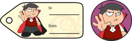 giftcard: dracula costume cute kid in vector format giftcard