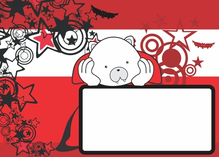 cute polar bear costume dracula copyspace in vector format