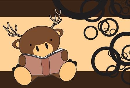 baby deer: reading cute baby deer cartoon in format very easy to edit Illustration