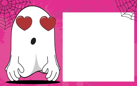 inlove: ghost cartoon halloween background in vector expressions frame format