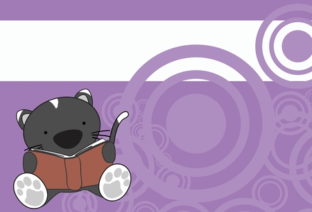 cute children: cute baby cartoon cat reading in format very easy to edit