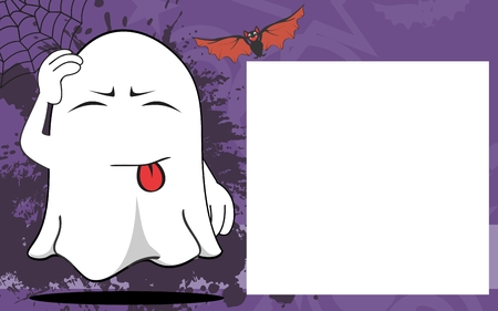 copysapce: ghost cartoon halloween background in vector expressions frame format