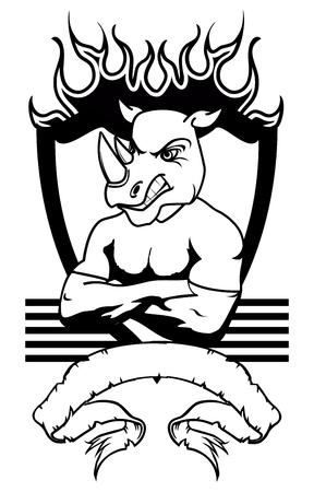 rhino vector: rhino mascot muscle shield crest tattoo in vector format