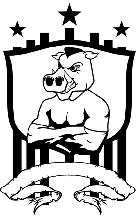 jabali: wild pig mascot muscle shield crest tattoo in vector format
