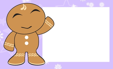 xmas background: gingerbread xmas kid cartoon background in vector format expression