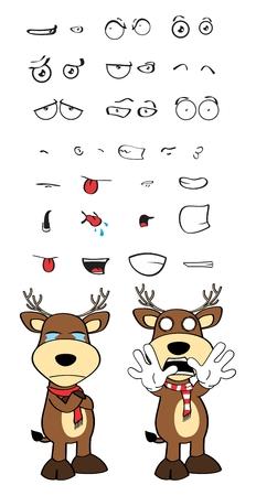 Hirsch Cartoon Emotionen im Vektor-Format Set sehr einfach zu bearbeiten Standard-Bild - 48085808