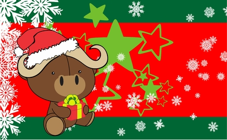 infantile: water baby bull cartoon xmas background in vector format very easy to edit
