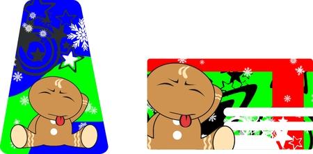 copysapce: gingerbread xmas kid cartoon expression gift card in vector format