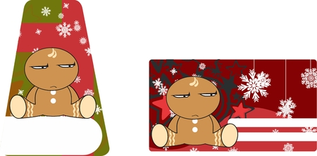 gingerbread xmas kid cartoon expression gift card in vector format