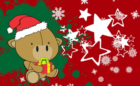 baby sitting: baby camel cartoon xmas background in vector format very easy to edit Illustration