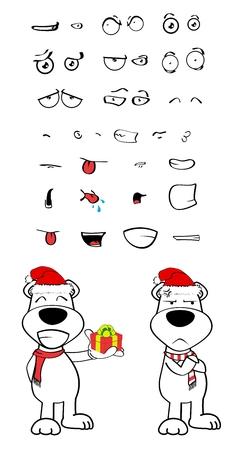angry teddy: polar teddy bear cartoon emotions Set in vector format very easy to edit