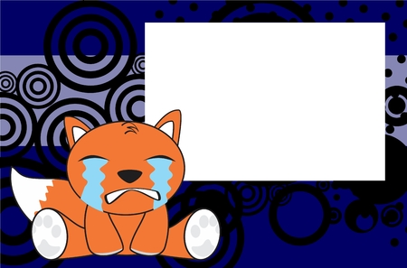 child sitting: sweet baby fox expressions cartoon background