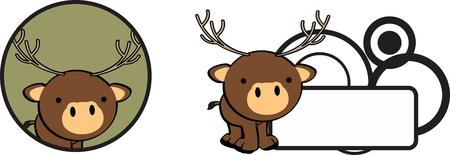 baby deer: copyspace cute baby deer cartoon sticker in vector format