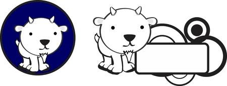 baby goat: copyspace cute baby goat cartoon sticker in vector format