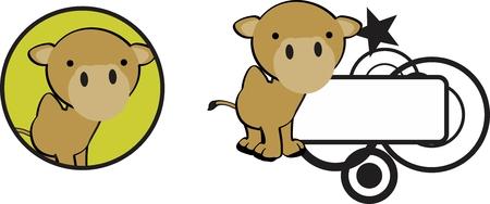 copyspace schattige baby kameel cartoon sticker in vector-formaat