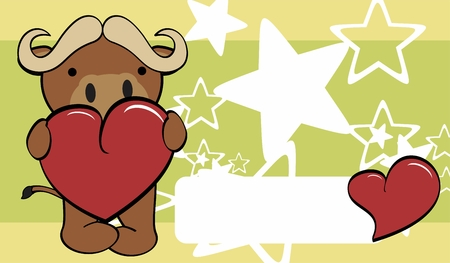 inlove: bull cute cartoon love valentine card background