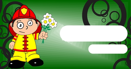 cute young firefighter expression kid cartoon background in vector format