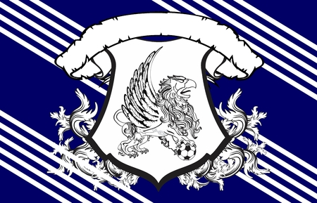 gryphon: gryphon soccer crest background in vector format very easy to edit