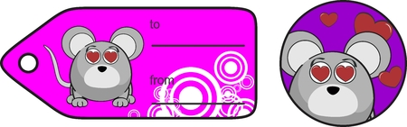 infantile: cute cartoon mouse ball giftcard expression vector format in