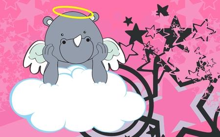 sweet cherub elephant cartoon background in vector format very easy to edit