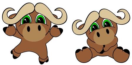 cute baby cartoon bull jumping sit in September in format