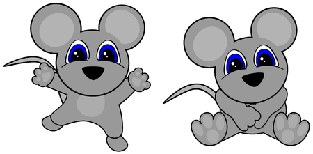 cute baby mouse cartoon jumping sit in September in format