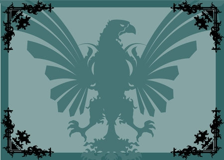 heraldic eagle: heraldic eagle background in vector format corners very easy to edit Illustration