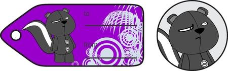 giftcard: baby plush cartoon skunk giftcard in vector format Illustration