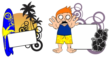 copyspace: surfer kid cartoon copyspace in vector expression format Illustration
