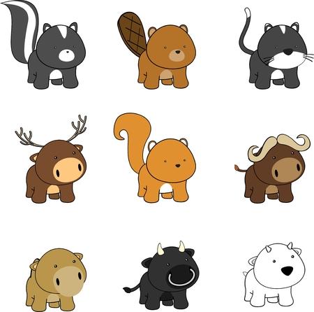 doux dessin animé animaux de bébé en format vectoriel