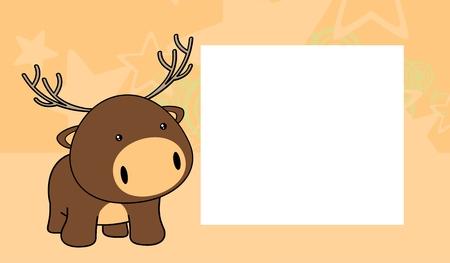 baby deer: sweet baby deer cartoon background in vector format frame Illustration