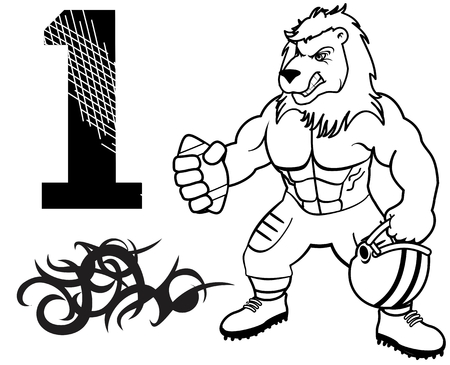 numbers clipart: muscle lion with american football uniform in vector format Illustration