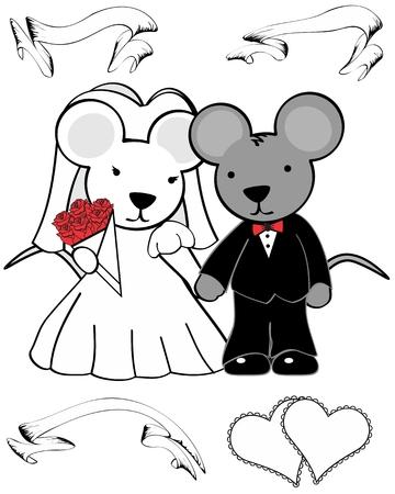 ratón de dibujos animados en formato vectorial se casó en septiembre muy fácil de editar