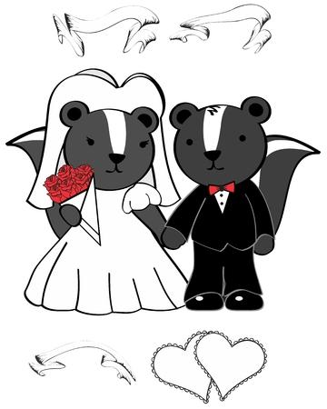 mofeta: mofeta de dibujos animados se casó en septiembre en formato vectorial muy fácil de editar Vectores