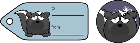 mofeta: mofeta de dibujos animados divertido del regalo tarjeta de pelota expresión en formato Vectores