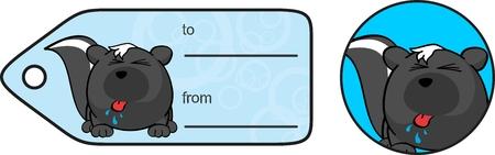 zorrillo: mofeta de dibujos animados divertido del regalo tarjeta de pelota expresión en formato Vectores