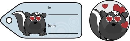 skunk: funny cartoon skunk expression ball gift card in format Illustration