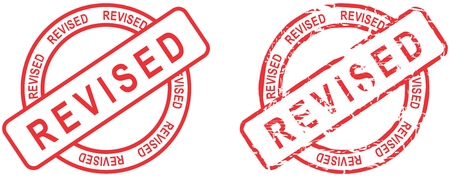 revised: red stamp isolated revised text in vector format in September Illustration