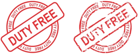 duty free: red stamp duty free text isolated in vector format in September Illustration