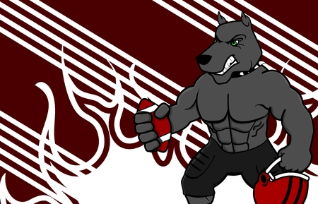 bad dog: muscle dog american football uniform background in vector format