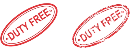 duty: red stamp duty free text isolated in vector format in September Illustration