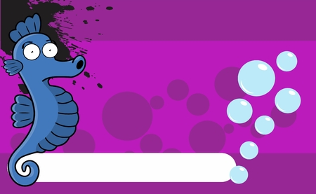 seahorse funny expression cartoon background in vector format