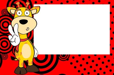 infantile: giraffe cartoon background in frame expression vector format