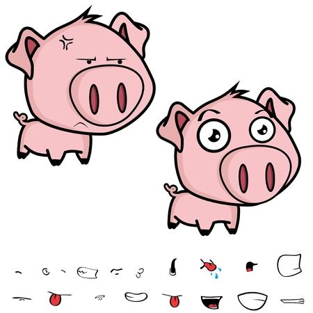 annoying: cute little cartoon pig big head in vector format Illustration