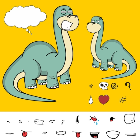 brontosaurus dinosaur cartoon expressions Illustration
